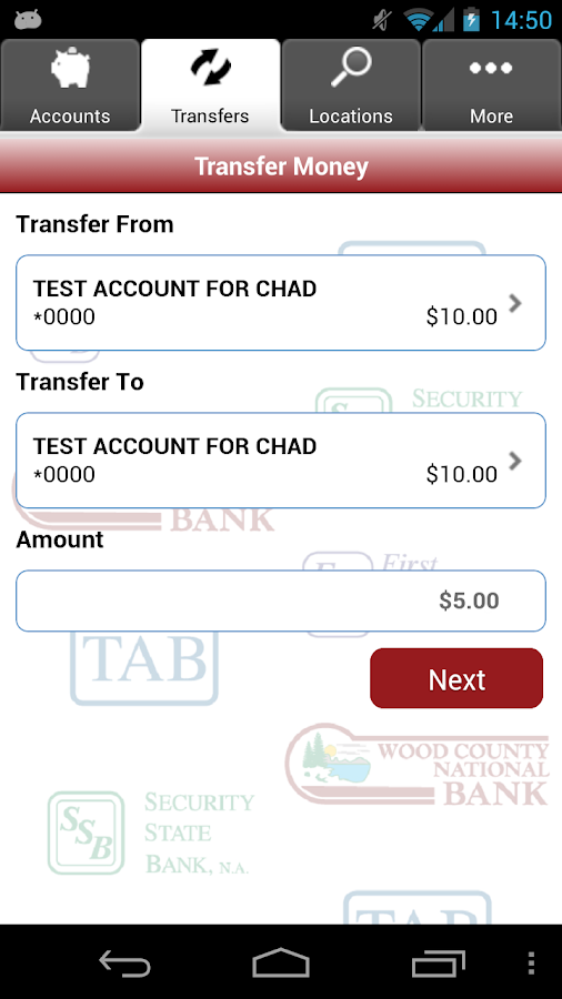 FNB, TAB, SSB, and WCNB Mobile - screenshot