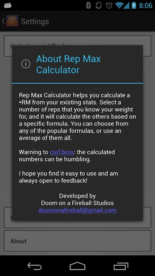 Rep Max Calculator - screenshot