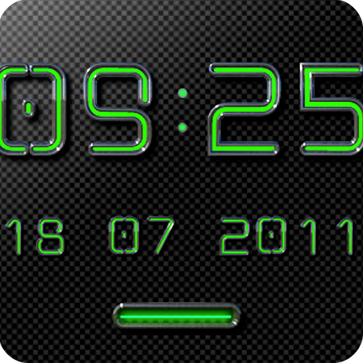 NEON GREEN Digi Clock Widget