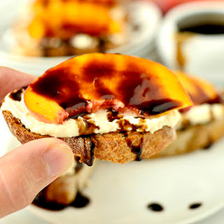 Fresh Peach Crostini with Whipped Honey Feta and Balsamic Drizzle