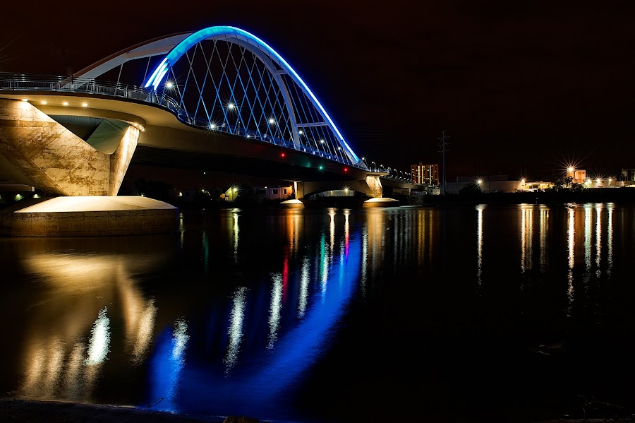Lowry Bridge Over the Mississippi River by Mike Woodard - Buildings & Architecture Bridges & Suspended Structures ( mississippi river, minneapolis, reflections, night,  )