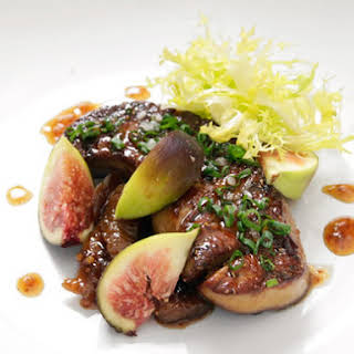 Pan-Seared Foie Gras With Fig Mostarda and Fresh Figs.
