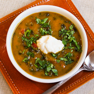 Spicy Butternut Squash Soup with Black Beans, Red Bell Pepper, and Cilantro.