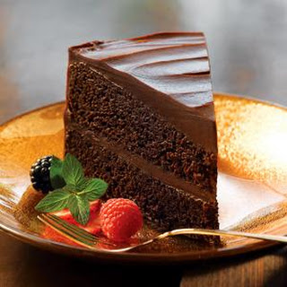 Double Decadence Chocolate Cake with Glossy Chocolate Frosting.
