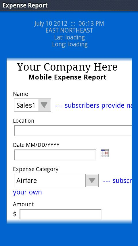 LAS Expense Report- screenshot
