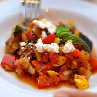 Perfect Ratatouille with Goat Cheese & Basil.