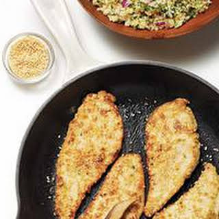 Tahini-Battered Chicken with Tabbouleh.