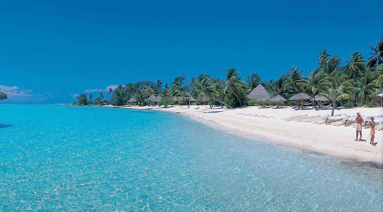 Bora Bora is surrounded by a barrier reef, protecting miles and miles of beautiful beaches.