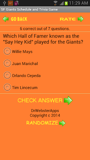 【免費體育競技App】Schedule SF Giants fans Trivia-APP點子