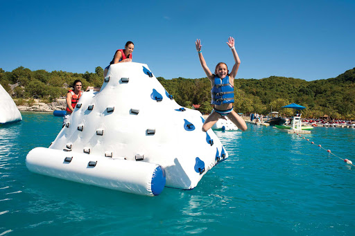 Kids get into the splash action in Labadee, Haiti, during an Allure of the Seas cruise.