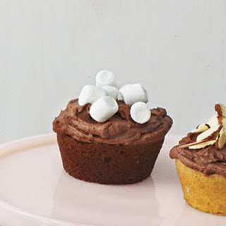 Chocolate Cupcakes With Chocolate Ganache Frosting and Mini Marshmallows.