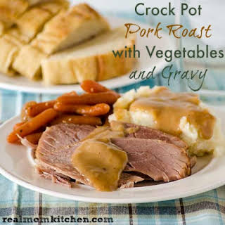 Crock Pot Pork Roast with Vegetables and Gravy.