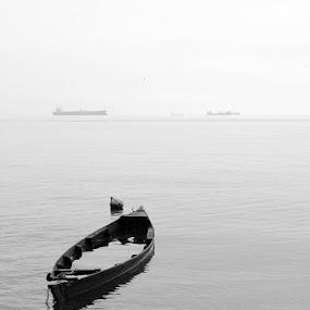 Be Under Water by Rizki Mayendra - Black & White Landscapes ( blackandwhite, landscape, boat )