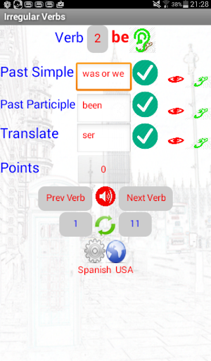 Irregular Verb english español