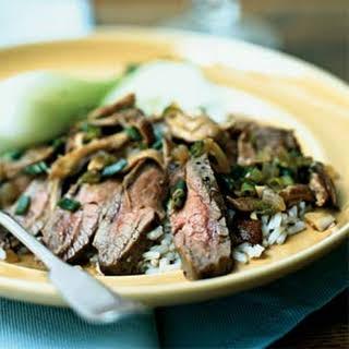 Flank Steak with Shiitake Mushroom Sauce.
