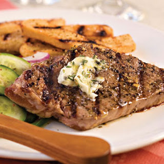 Strip Steak With Rosemary Butter.
