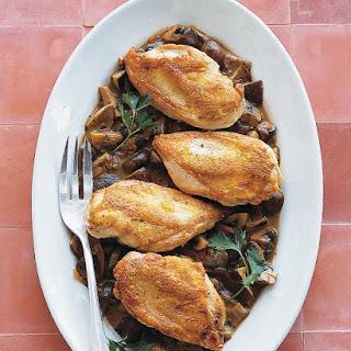 Roast Chicken with Wild Mushroom Sauce.