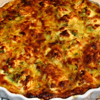 Courgette and Goat's Cheese Crustless Quiche.