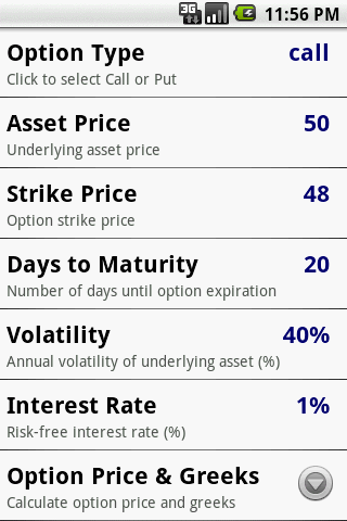 Options Calculator - screenshot