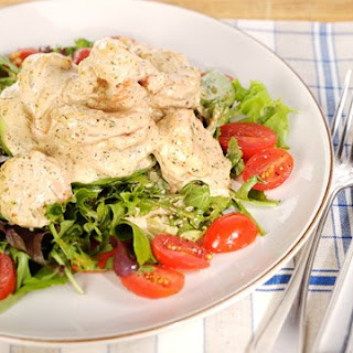 Emeril's Shrimp and Avocado Salad with New Orleans-Style Remoulade Sauce and Baby Greens.