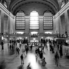 Grand Central Station by Ferdinand Ludo - Black & White Buildings & Architecture ( train passengers, grand central station, new york,  )