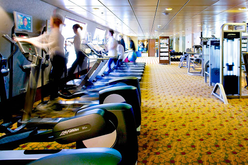 Spa-Fitness-Fitness-Center-on-Crystal-Symphony - Crystal Symphony's Fitness Center features state-of-the-art equipment to keep you in shape.