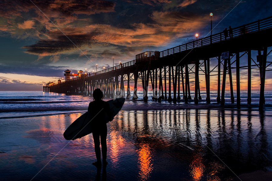 Last Light Flat by Alan Crosthwaite - Buildings & Architecture Bridges & Suspended Structures ( beach backgrounds, oceanside, beach sunsets, southern california, oceanside pier, pier backgrounds, tourism, travel, people, coastal, destination, silhouetted, san diego, piers, surfing, surfer, sunset, travel backgrounds, silhouettes, pier, pier sunsets )