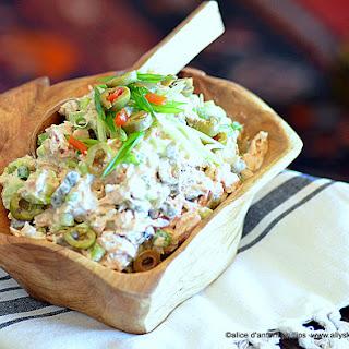 Chunky Fresh Salmon Scallion Olive Salad.