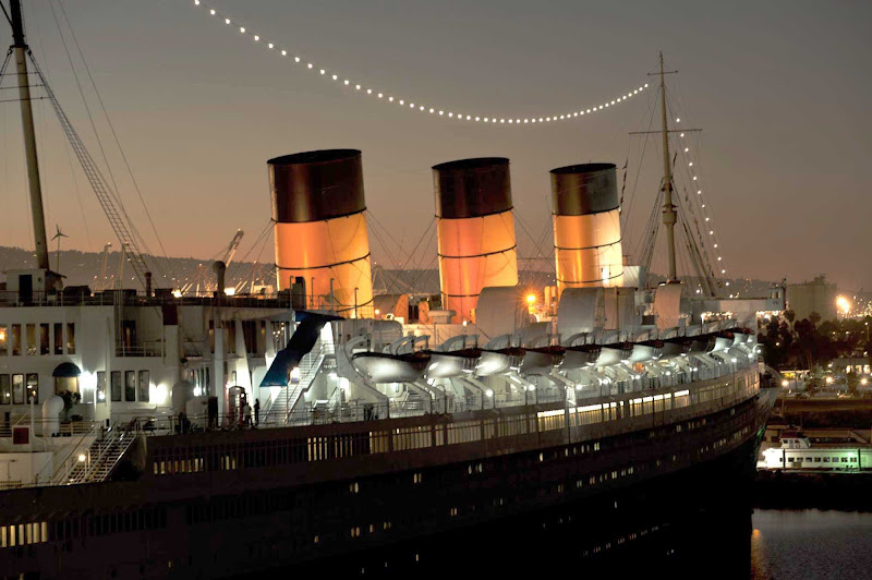 The ocean liner Queen Mary, which plied North Atlantic waters for Cunard Line from 1936 to 1967, is now a floating restaurant and museum in Long Beach.