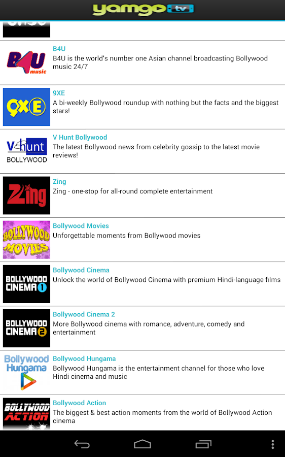 Yamgo Free Mobile TV- screenshot