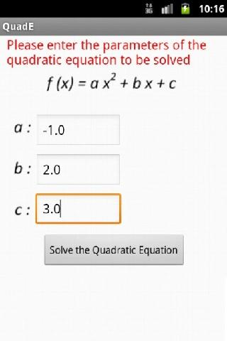 Quadratic Equation Solve/Graph- screenshot