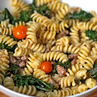Fusilli with Sausage, Kale, and Sungold Tomatoes