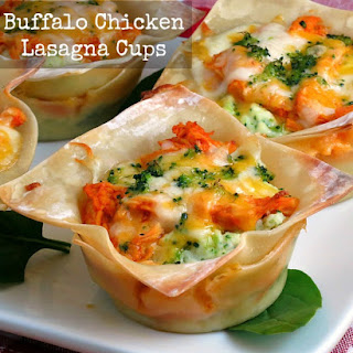 Buffalo Chicken Lasagna Cups #SundaySupper