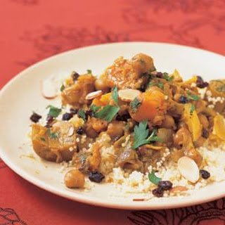 Eggplant and Golden Squash Tagine with Chickpeas and Raisins.