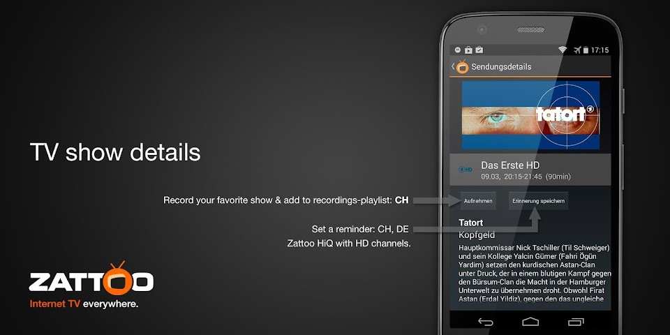 android Zattoo Live TV Screenshot 4