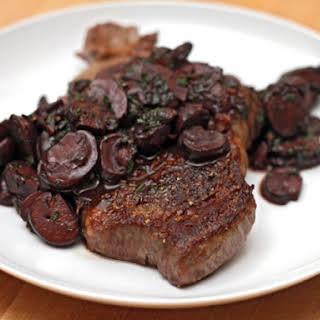 Steak with Red Wine Mushrooms.