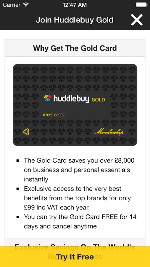 Goldcard- screenshot
