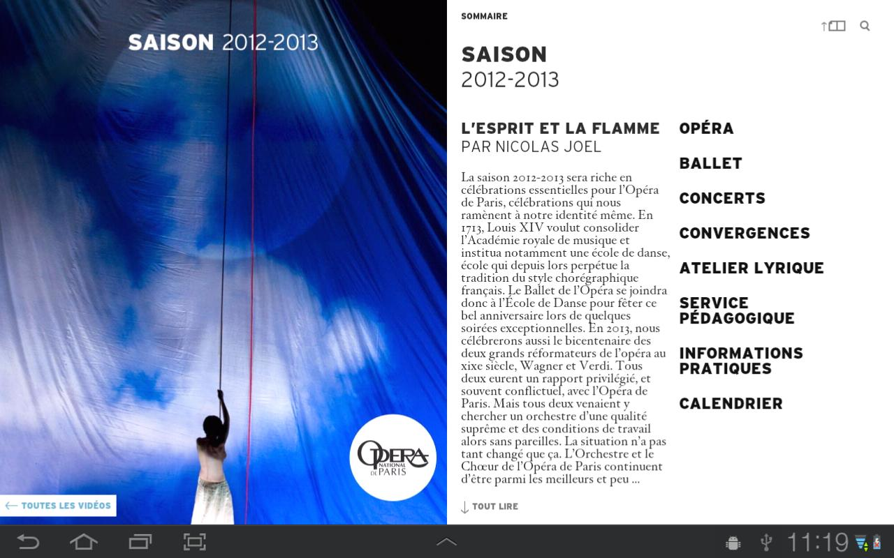 Opéra de Paris, Saison 12/13 - screenshot