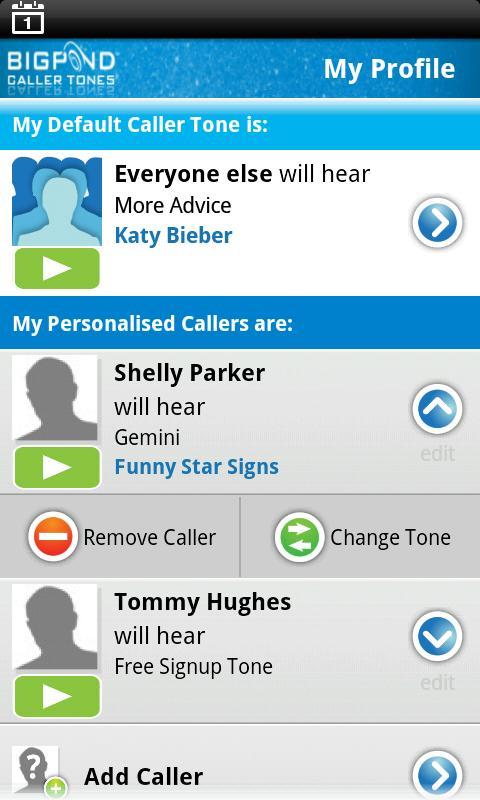 BigPond Caller Tones- screenshot