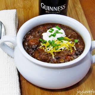 Slow Cooker Guinness Steak and Black Bean Chili.