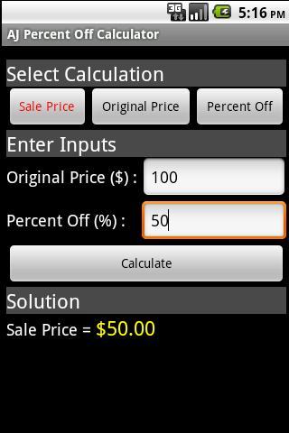 AJ Percent Off Calculator- screenshot