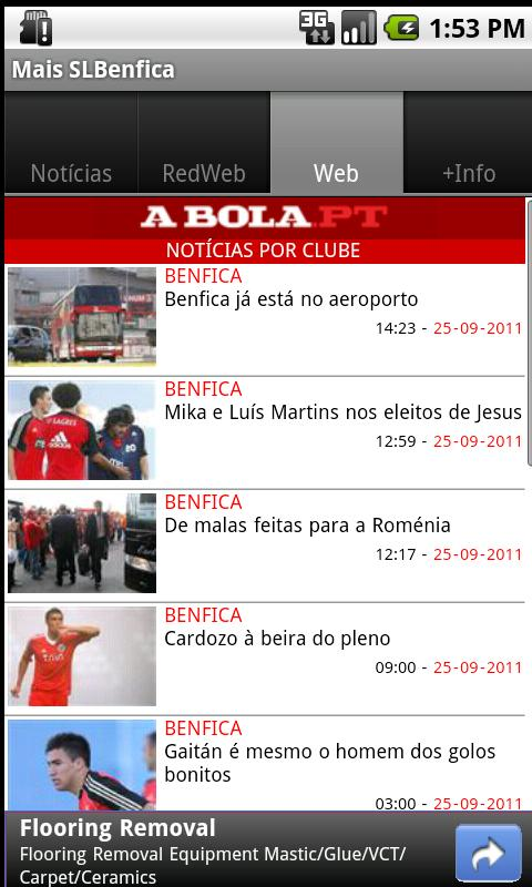 Mais SL Benfica - screenshot