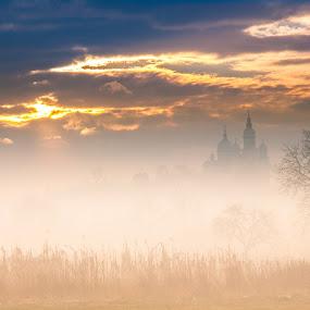 mornig fog by Poloca Tony - Landscapes Prairies, Meadows & Fields ( field, clouds, tree, church, fog, flares, sun, sky corn )