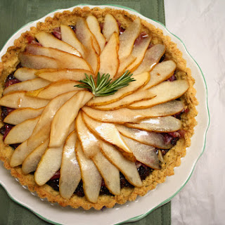 Fresh Pear, Fig, and Prosciutto Tart with Rosemary Cornmeal Crust.