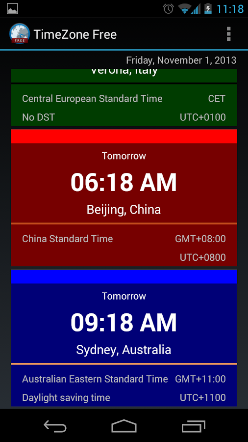 TimeZone Free - screenshot