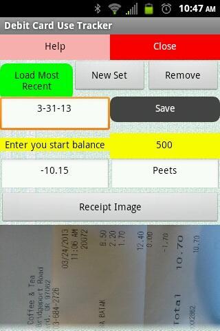 Debit Card Use Tracker