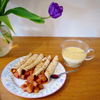 Sloe Rhubarb & Custard Crepes.