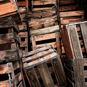 Discarded Crates by Martha van der Westhuizen - Artistic Objects Other Objects ( heap, stacked, wooden, wine crates, discarded )