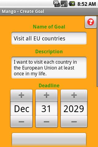 Mango Goal Organizer - screenshot
