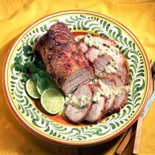 Roast Pork Loin With Poblano Chile Sauce.